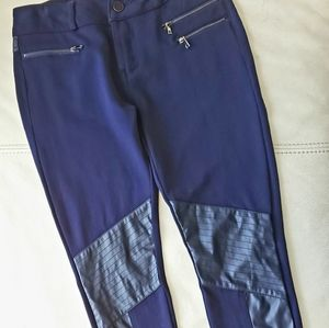 💚 Oxygen navy blue legging w/ faux-leather